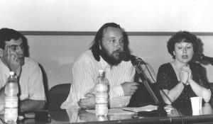 Conferenza Quale avvenire per la Russia e l'Eurasia?  Centro congressi Le Stelline, Milano 25 luglio 1994: Maurizio Murelli, Alexandr Dugin e Alessandra Colla.